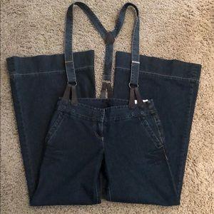 Ann Taylor wide leg denim jeans overalls suspender